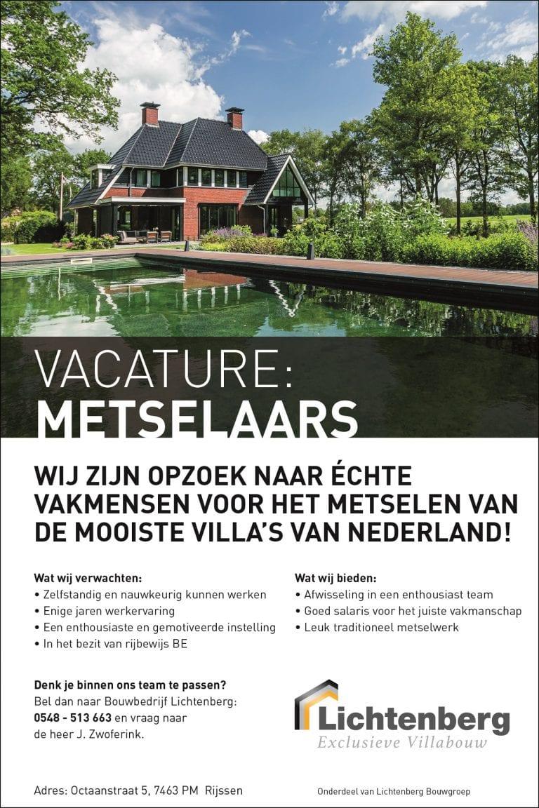 Vacature metselaars - Lichtenberg Exclusieve Villabouw