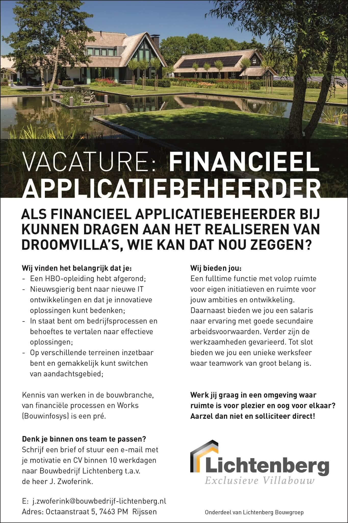 Vacature Financieel applicatiebeheerder BBL voor website