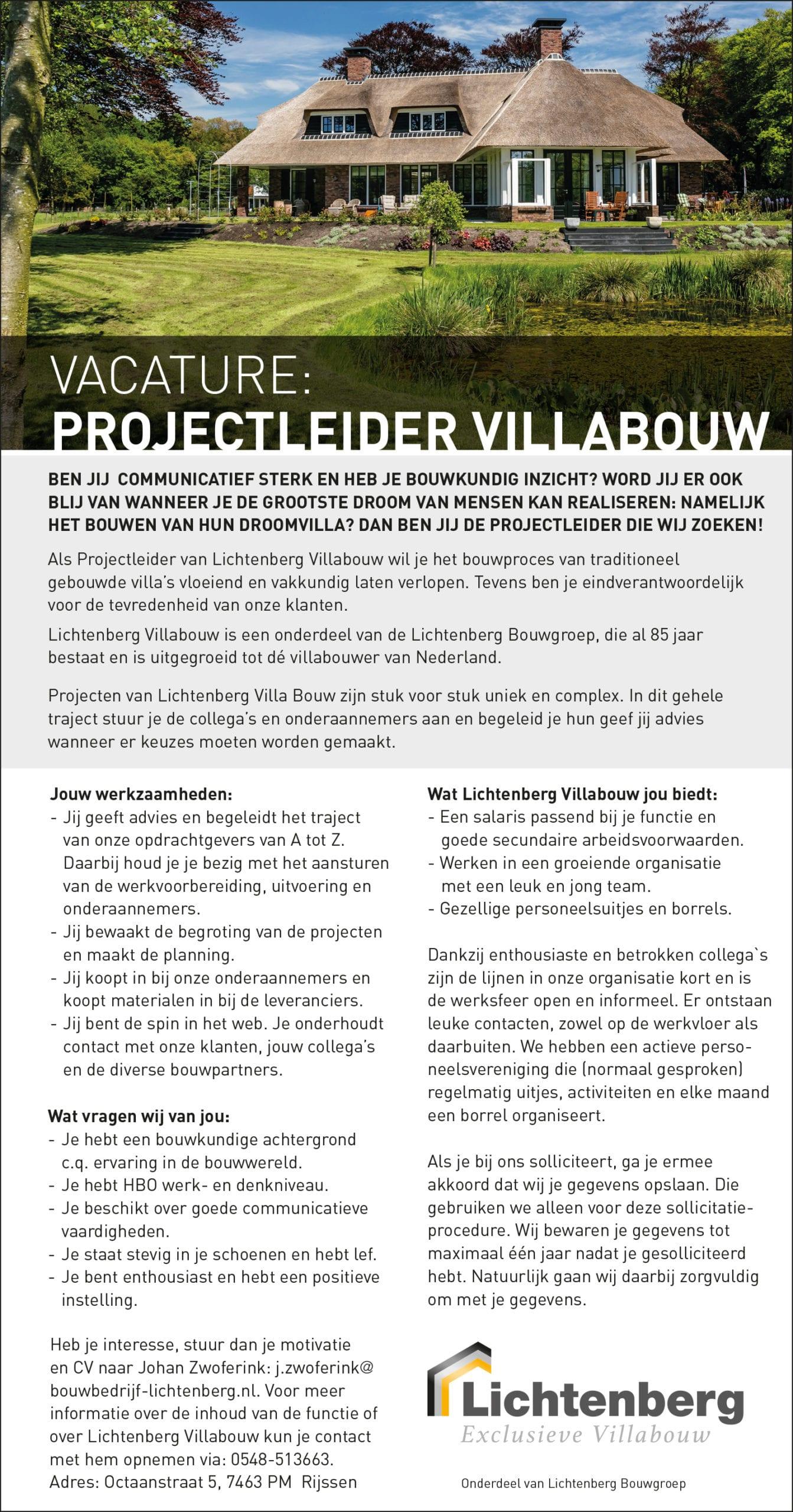 Vacature Projectleider Villabouw