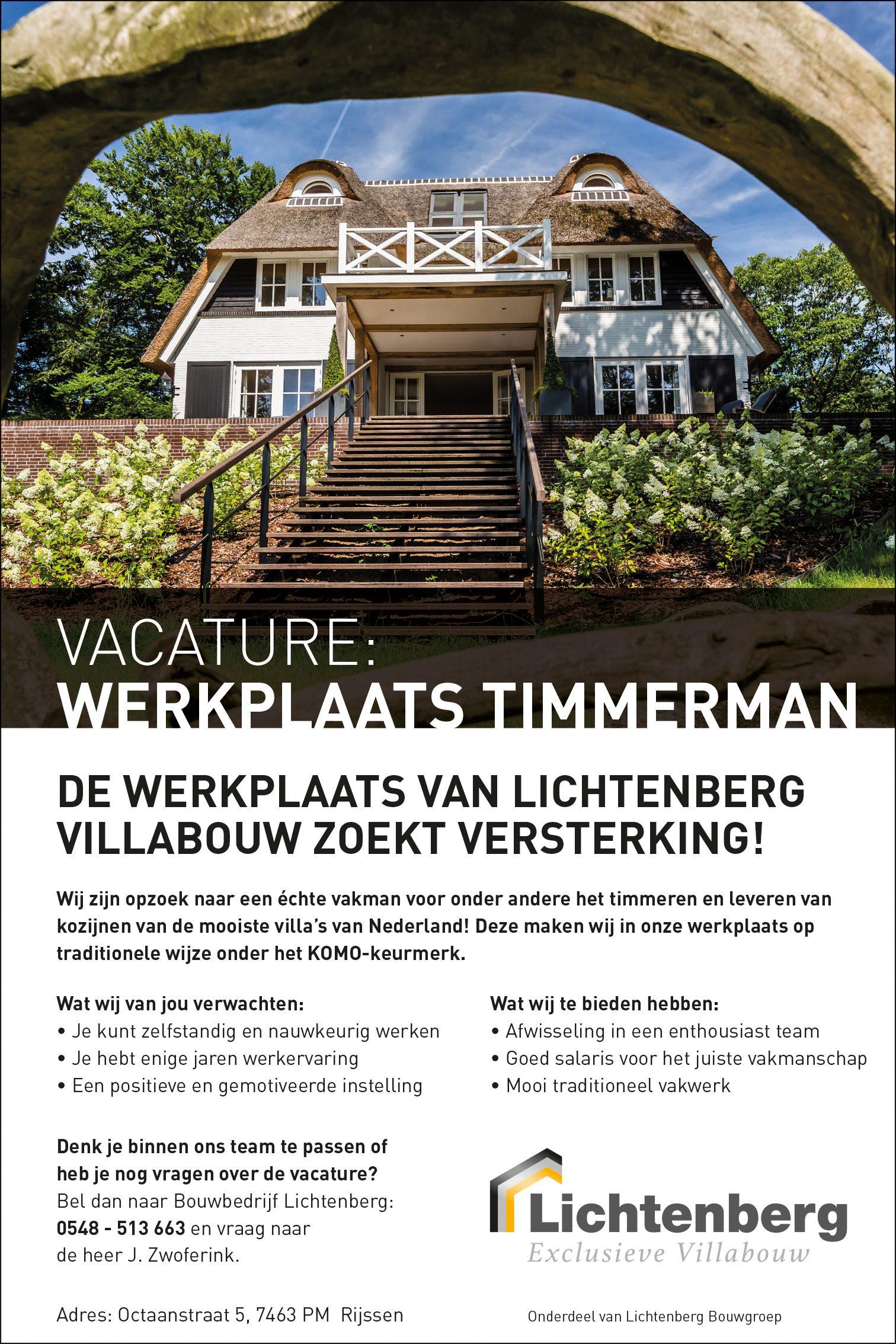 Vacature werkplaats timmerman Lichtenberg Villabouw
